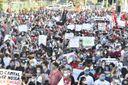 Manifestantes se reúnem para ato contra o governo de Bolsonaro