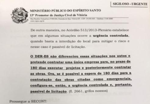 Trecho do pedido do MP aponta que Secont já havia alertado DER-ES sobre irregularidade na contratação
