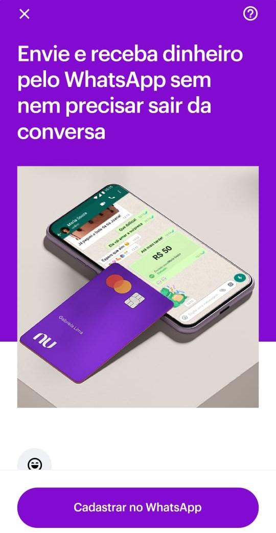 Nubank está notificando os clientes através do aplicativo.