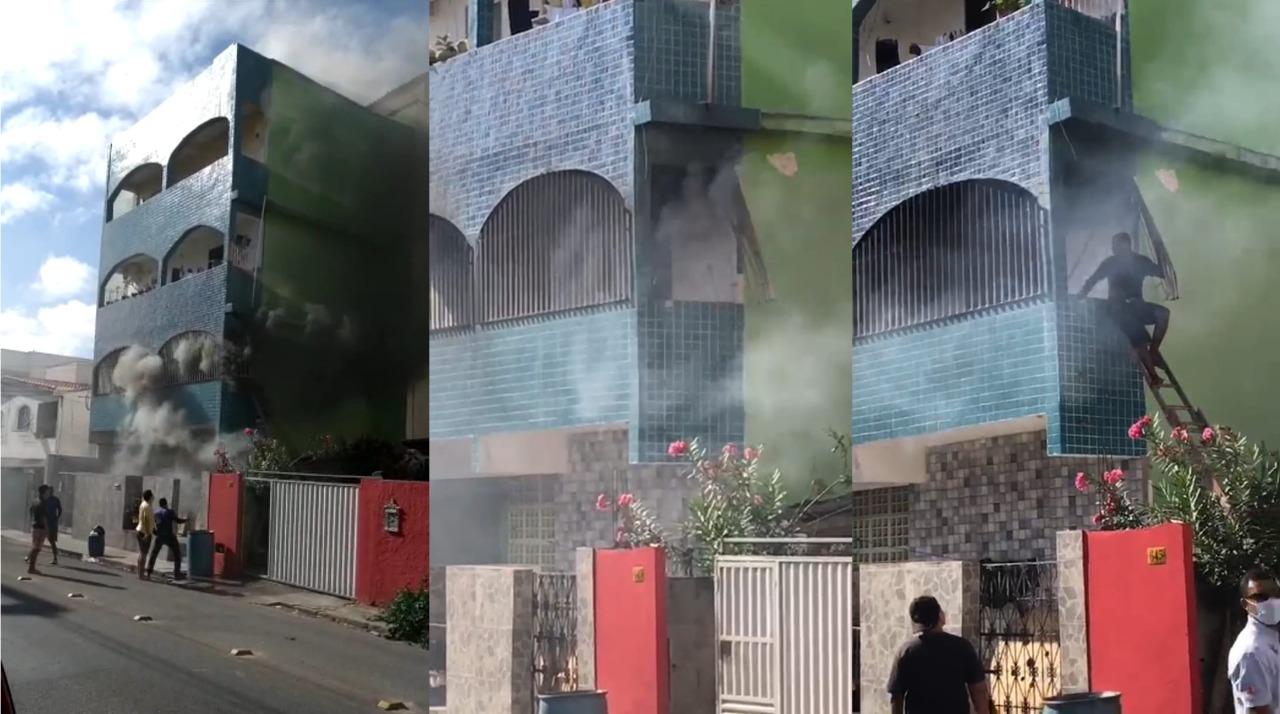 Homem é resgatado pela varanda em Linhares. Crédito: Reprodução/Vídeos