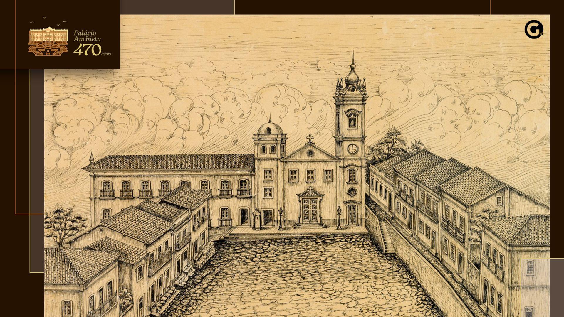 Desenho da antiga fechada do Palácio Anchieta, voltada para a Praça João Clímaco, ainda no período colonial