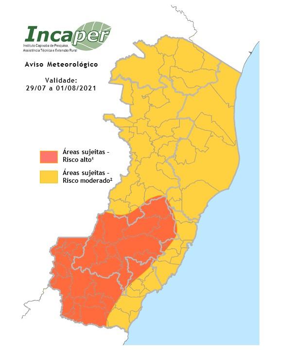 Alerta meteorológico é válido desta quinta-feira (29) até o dia 1º de agosto no ES