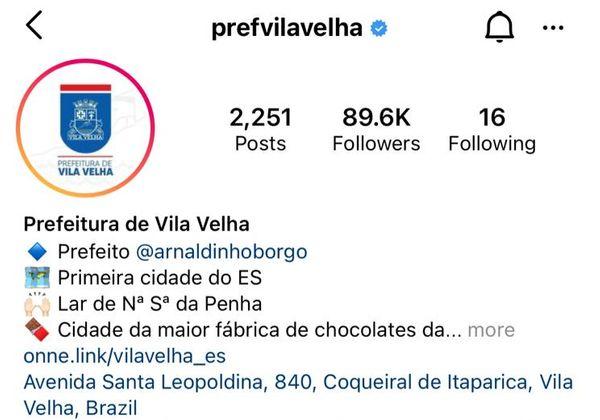 Perfil da Prefeitura de Vila Velha no Instagram tem direcionamento para perfil pessoal do prefeito. Crédito: Reprodução/Redes Sociais