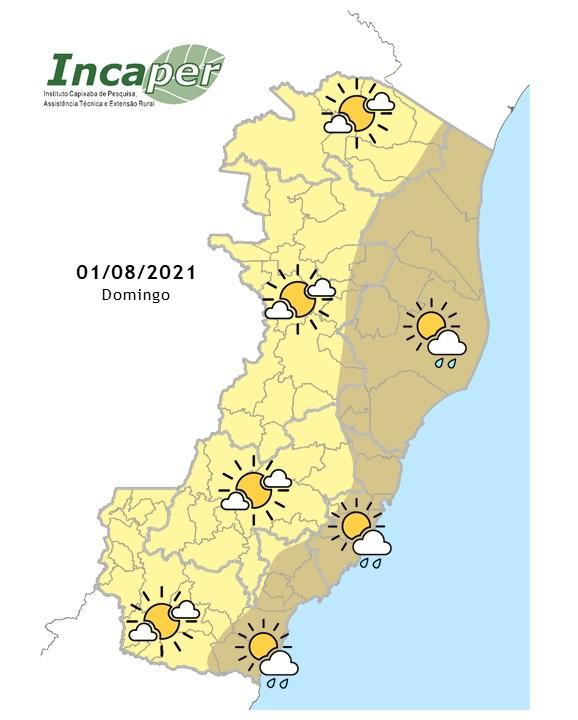 Previsão do tempo para domingo (01/08/21) no Espírito Santo