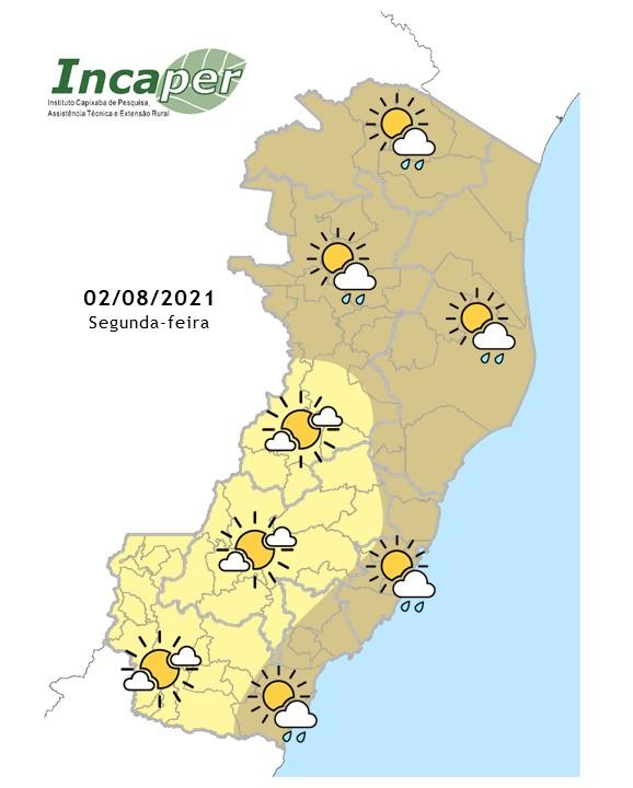 Previsão do tempo para segunda-feira (02/08/21) no Espírito Santo