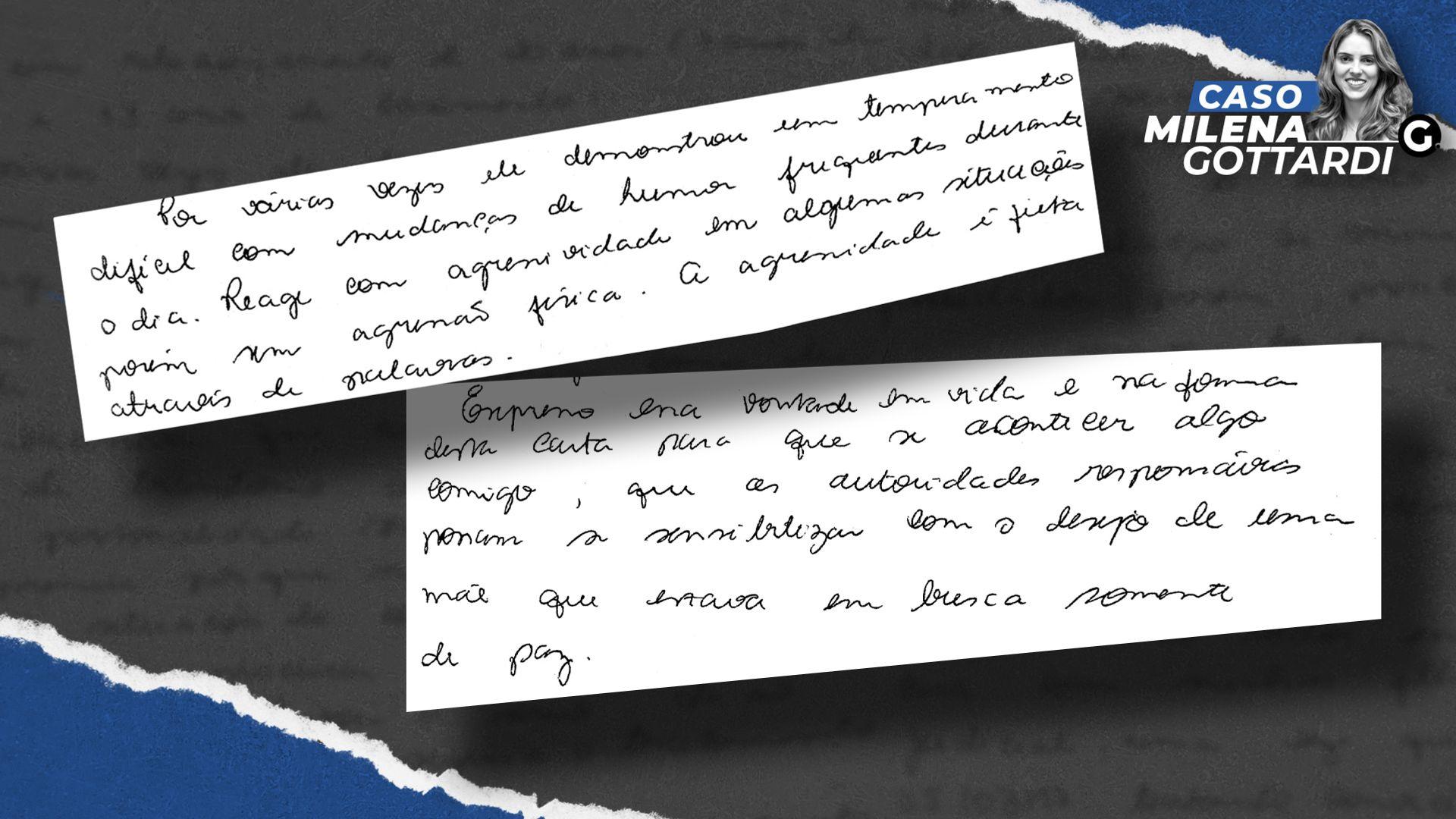 Trechos da carta deixada pela médica Milena Gottardi