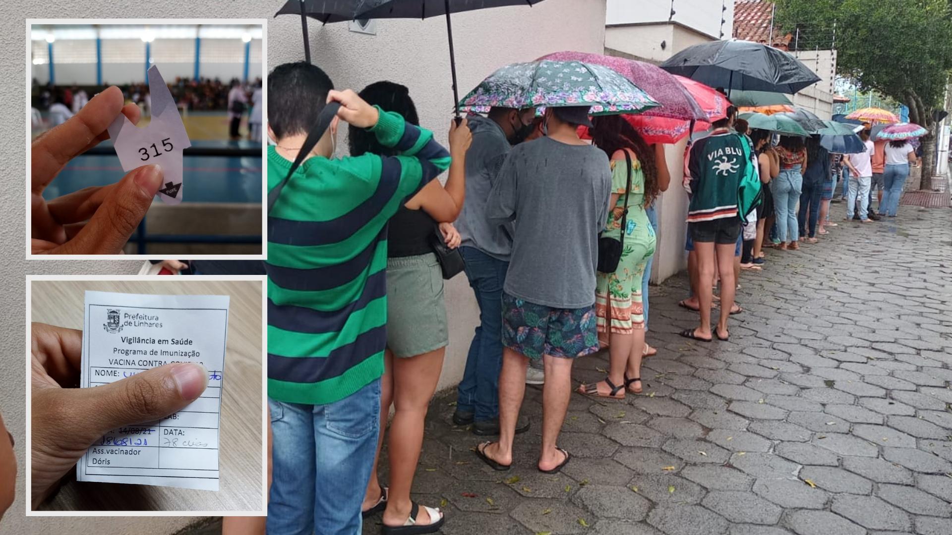 Fila e chuva forte: a saga de repórter em busca da 1ª dose de vacina no ES. Crédito: Arquivo pessoal / Montagem A Gazeta
