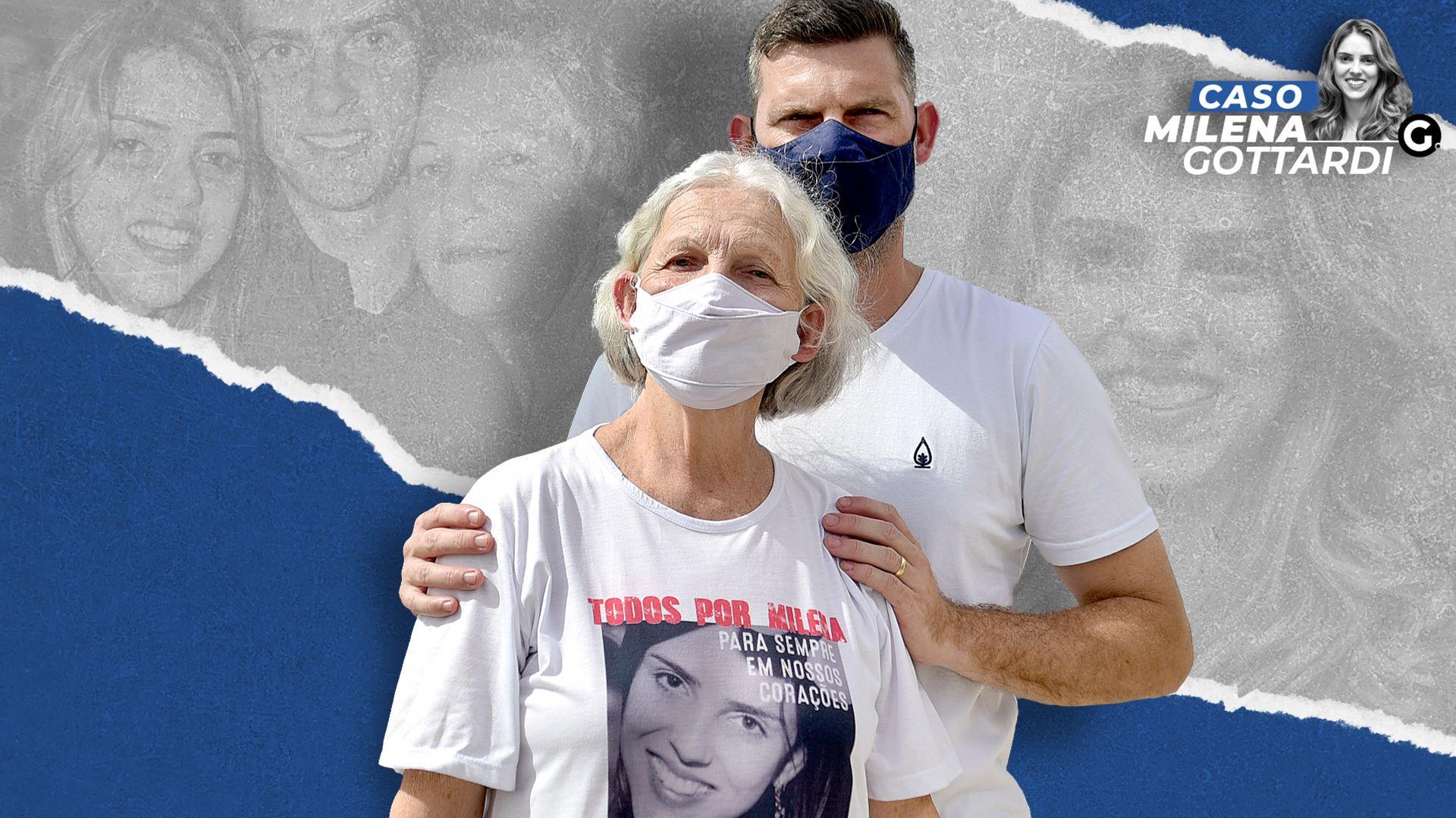 Douglas Gottardi e Zilca Maria Gottardi, irmão e mãe de Milena Gottardi, médica executada em 2017