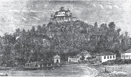 Convento da Penha. Ilustração do livro de Gomes Neto (1888), em xilogravura do atelier artístico de Alfredo Pinheiro.