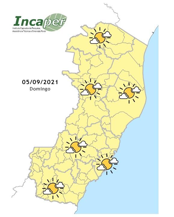 Mapa da previsão do tempo para este domingo (5) no Espírito Santo