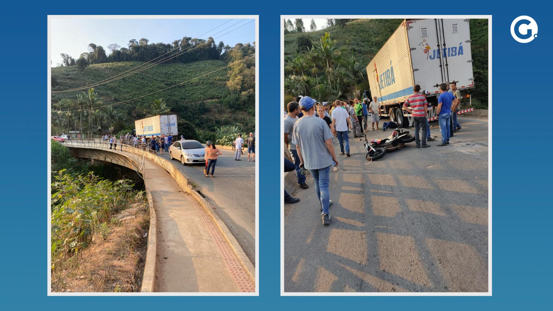 Motociclista morre após colidir com caminhão-baú em Santa Maria de Jetibá. Crédito: Leitor A Gazeta