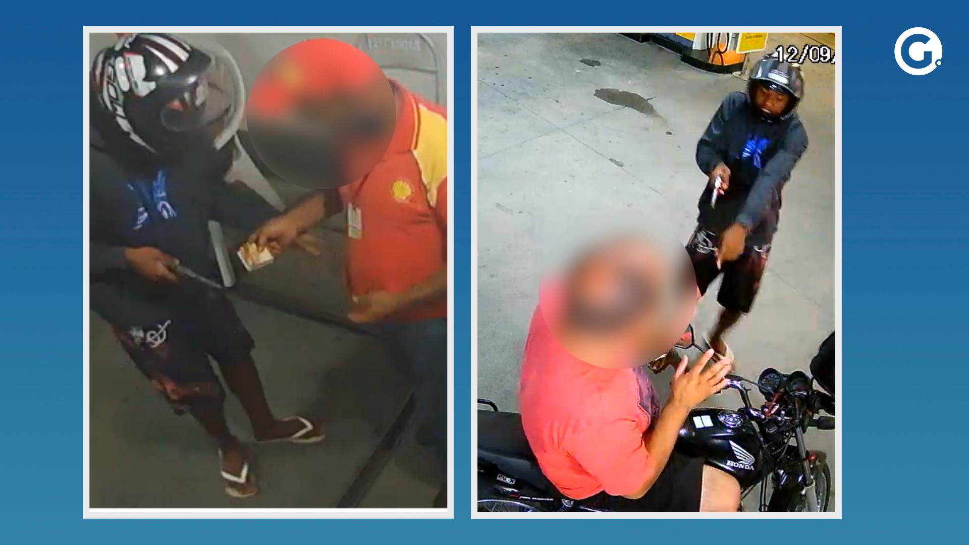 Vídeo: homens de moto assaltam posto em Muqui. Crédito: Videomonitoramento / Montagem A Gazeta