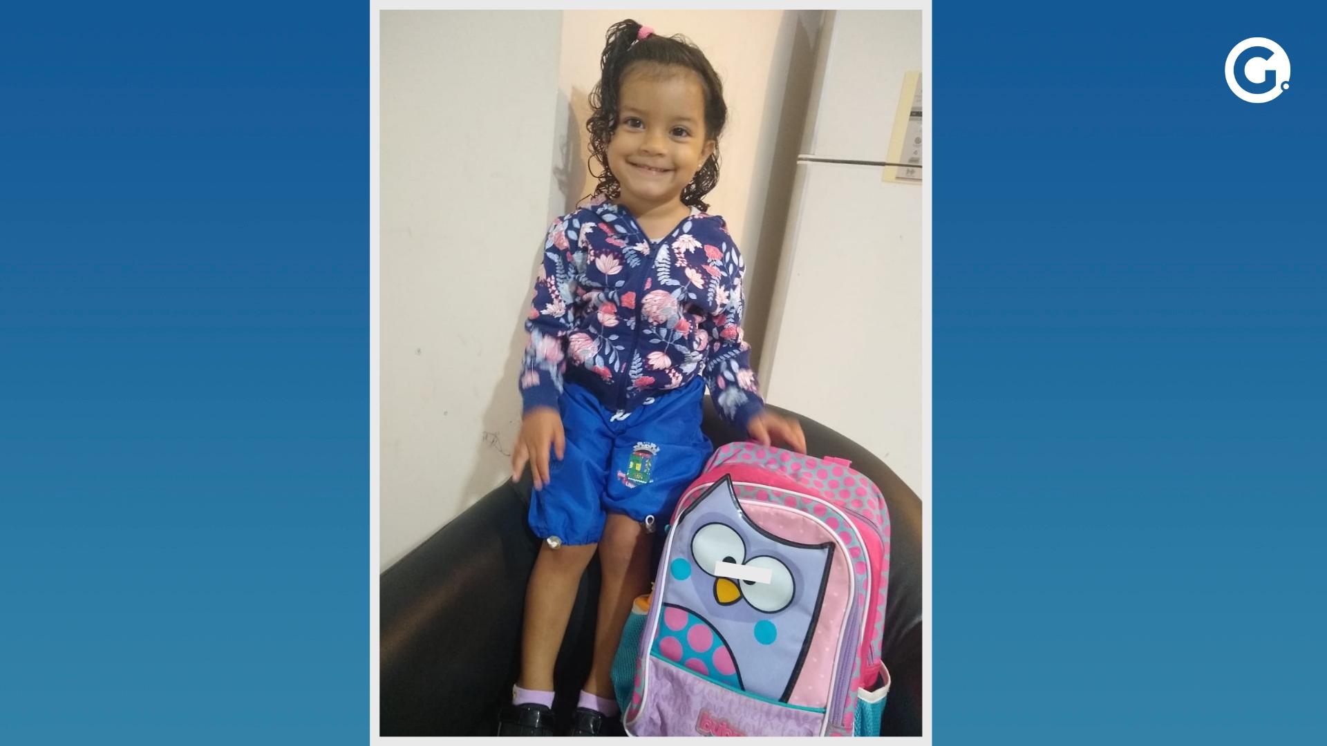 Elena Vieira Fantin, de 2 anos, atropelada em Linhares, Norte do Espírito Santo. Crédito: Arquivo pessoal / Montagem A Gazeta