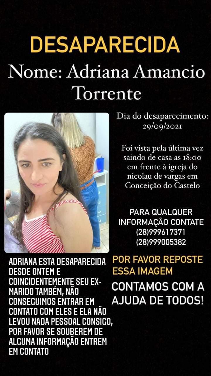 Adriana Torrente Moreira, de 39 anos, foi vista pela última vez na quarta-feira (29), em Conceição do Castelo. Crédito: Reprodução