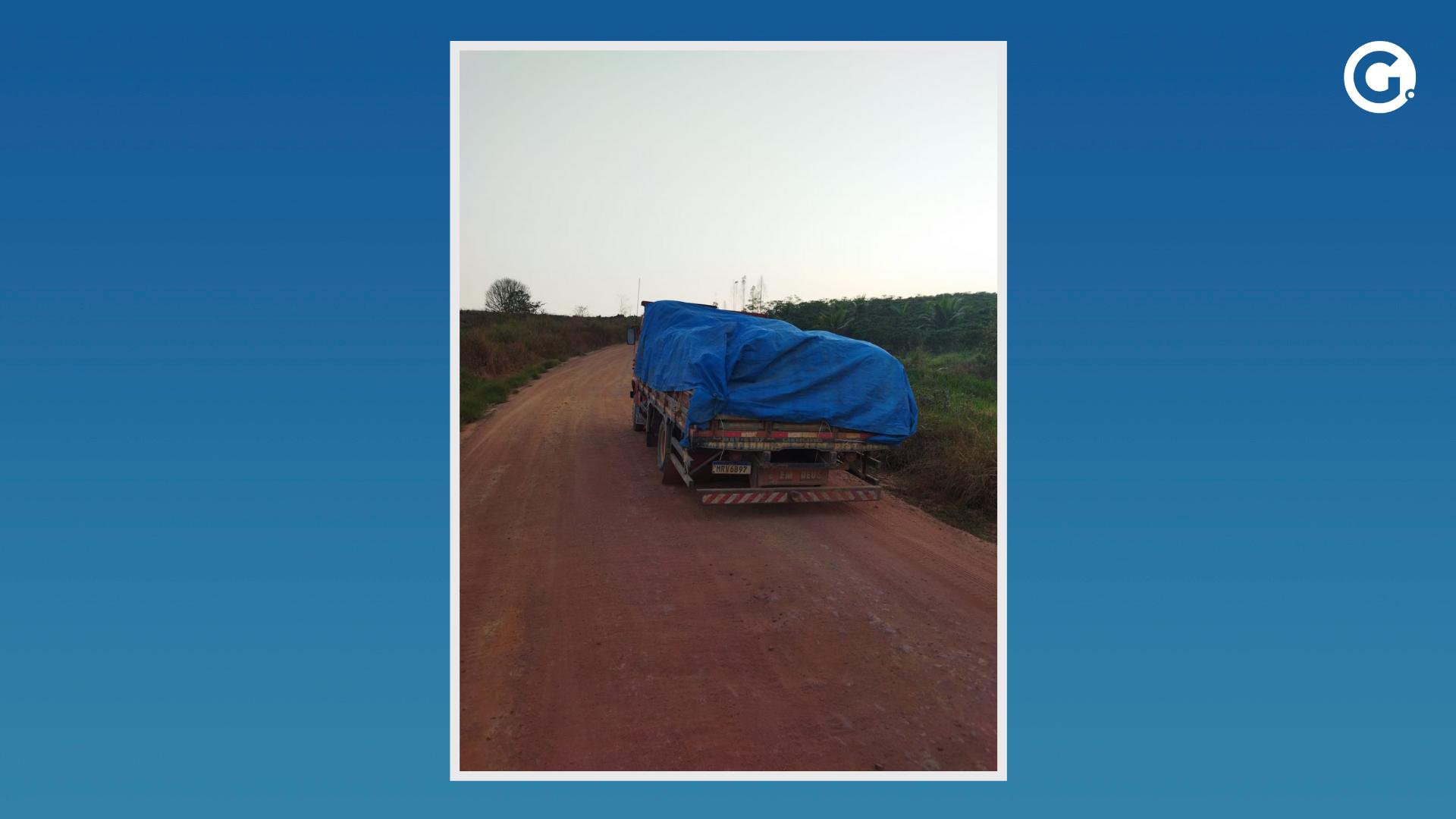 Um dos caminhões recuperado com a carga roubada de família Vila Valério. Crédito: Leitor A Gazeta / Montagem A Gazeta
